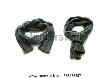 Two warm green scarf on a white background - stock photo