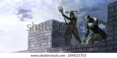 two warriors on top of castle  - stock photo