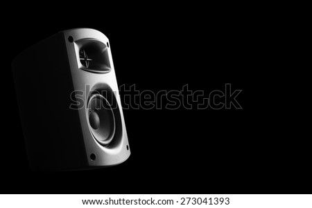 Two way audio speaker with black background - stock photo