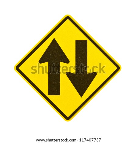 Two way traffic sign on white background with clipping path. - stock photo
