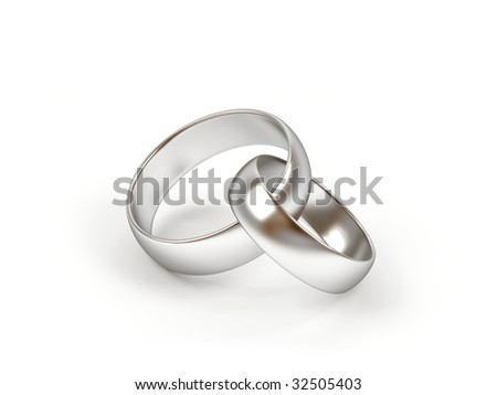 Two wedding ring on a white background. - stock photo