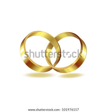 Two wedding ring on white background - stock photo