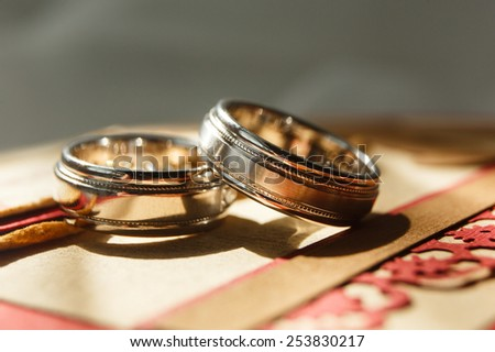 two wedding rings - stock photo