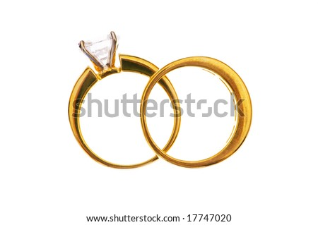 Two wedding rings isolated on the white - stock photo