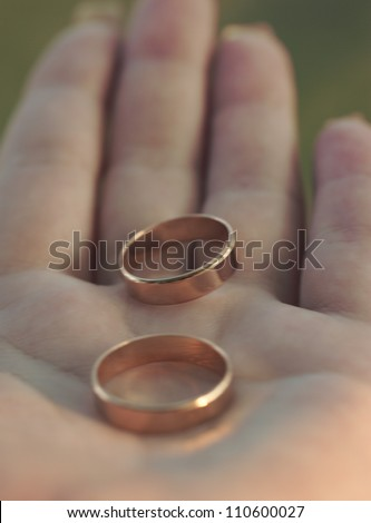 Two wedding rings lie on the palm - stock photo
