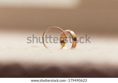 Two wedding rings. Love concept - stock photo