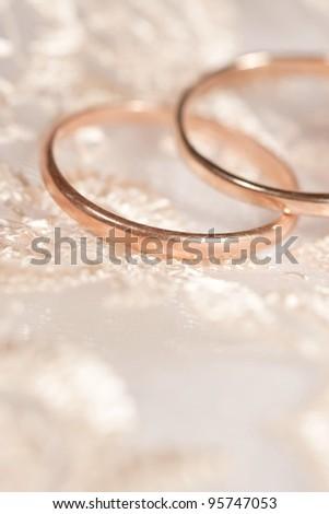 Two wedding rings on the wedding dress - stock photo