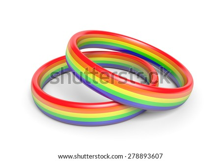 Two wedding rings with rainbow flag colors, a symbol of gay or same sex partnerships - stock photo