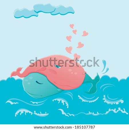 Two whales in love hugging each other in the blue sea - stock photo
