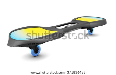 Two-wheeled skateboard isolated on white background. 3d illustration. - stock photo