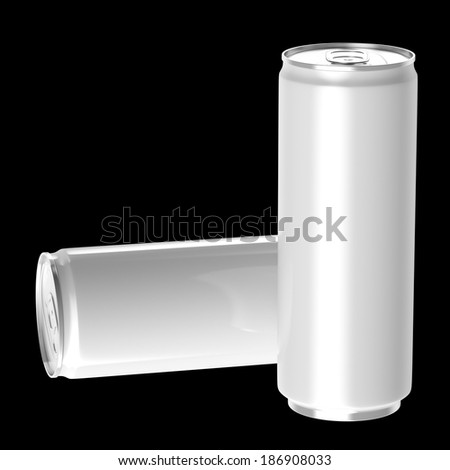 Two white beverage drink cans, Isolated on black background, 3d Rendered. - stock photo
