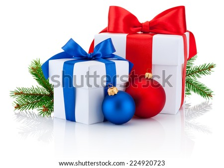 Two white boxs tied red and blue ribbon bow, pine tree branch and christmas balls Isolated on white background - stock photo