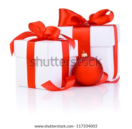 Two White boxs tied with a red satin ribbon bow and christmas ball Isolated on white background - stock photo