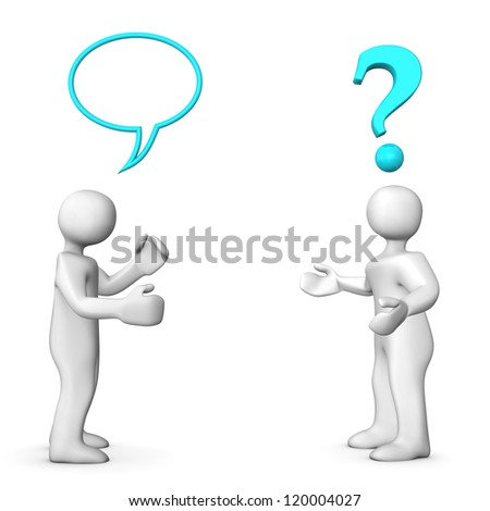 Two white cartoon characters have a communication problem. - stock photo