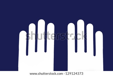 two white hands in parallel against dark blue background, illustration - stock photo