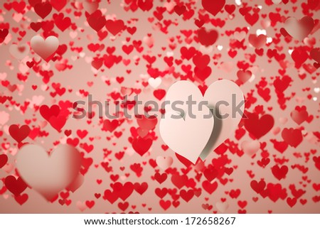 Two white hearts on a background full of red hearts with shallow depth of field - stock photo
