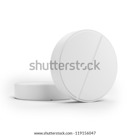 Two white  medical pills - stock photo