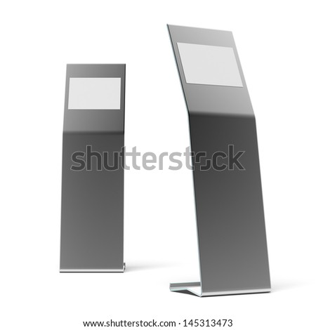two white metal advertising stands - stock photo