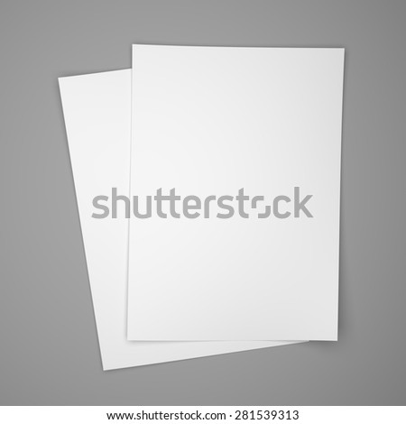 Two white paper sheets on gray background - stock photo