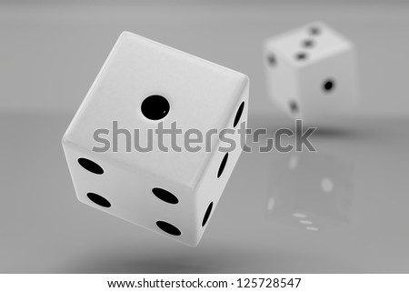 Two white plastic rolling dices showing number one and three, closeup - stock photo