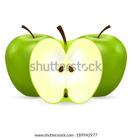 two whole and half green apples on a white background - stock photo