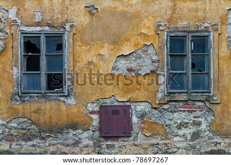 two windows devastated house - stock photo
