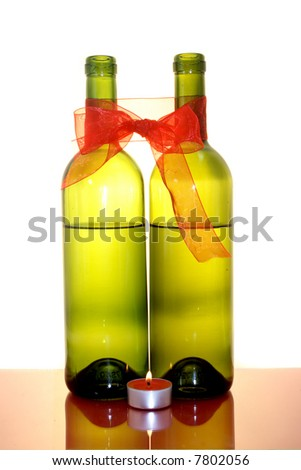two wine bottles - stock photo