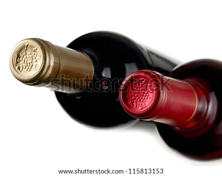 Two wine bottles, top view - stock photo