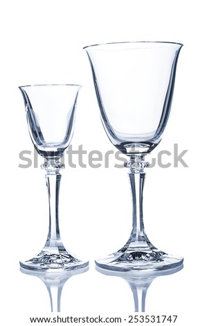 Two wine glasses on white background - stock photo