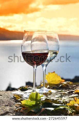Two wineglasses and grapes on the terrace of vineyard in Lavaux region, Switzerland - stock photo