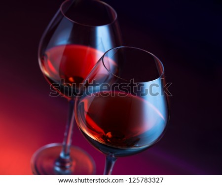 Two wineglasses angled - stock photo