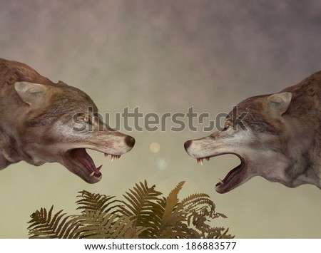 Two wolves. Dialogue. Illustration (3D & hand drawn) - stock photo