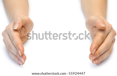 Two woman hands isolated on white background - stock photo