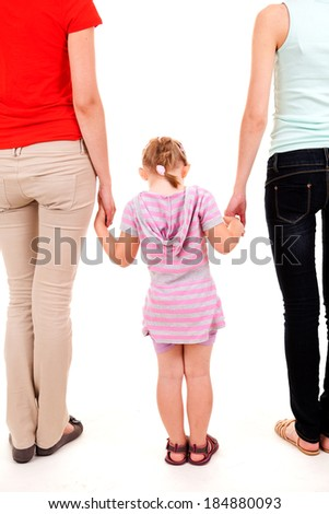 two women and girl, white background - stock photo