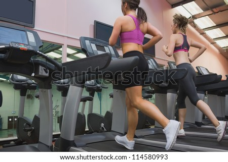 Two women exercising on treadmills in the gym - stock photo
