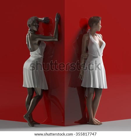two women on opposite sides of the edge - stock photo