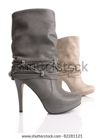 Two women shoes in white background - stock photo