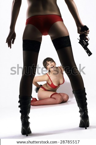 Two women violence scene - stock photo