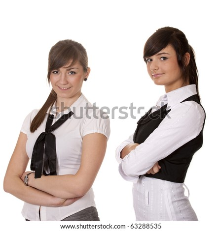 Two women working in the office - stock photo