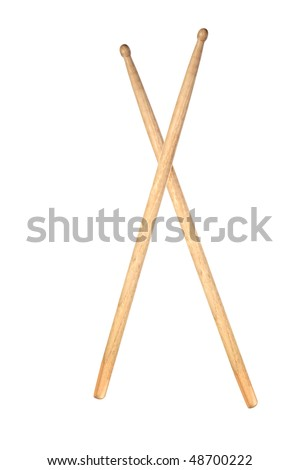 Two wooden drumsticks isolated on white background - stock photo