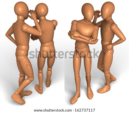Two wooden figures, men whispering secretly in ear, front view, back view, 3d rendering isolated on white background - stock photo