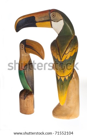 two wooden toucans on white background - stock photo
