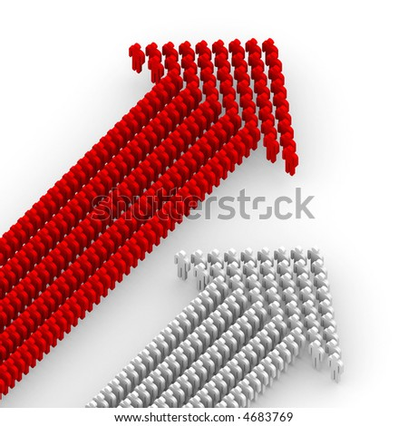 Two working collective, form up in arrow - stock photo
