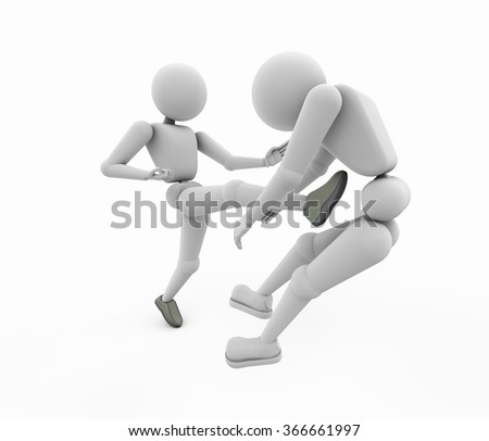 two wrestler in the match the leader struck with a foot another  render 3D illustration cutout isolated on white background soft shadow copy space - stock photo