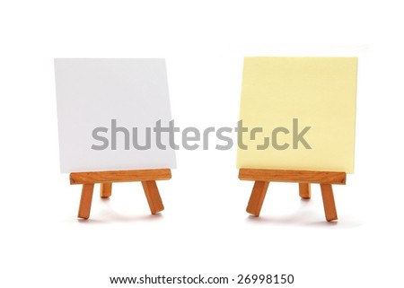 two write boards on wooden art easels isolated on white background - stock photo