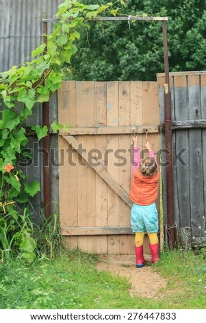 Two year-old toddler girl is reaching up door swivel hook and opening wooden wicket gate - stock photo