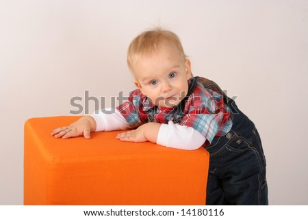 Two years of old babyboy in the photostudio - stock photo