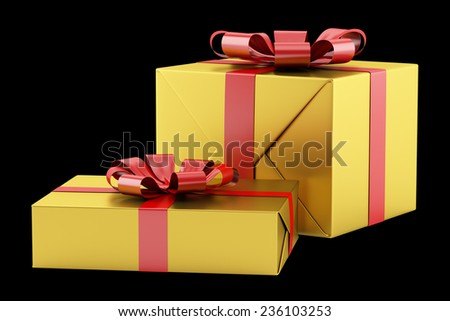 two yellow gift boxes with red ribbons isolated on black background - stock photo