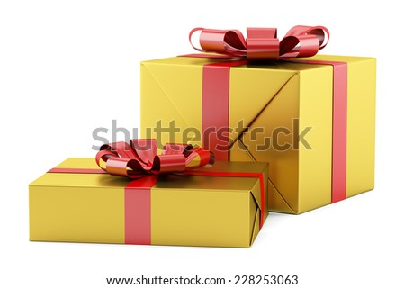 two yellow gift boxes with red ribbons isolated on white background - stock photo