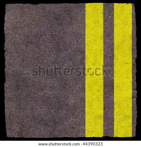 Two yellow lines on asphalt background - stock photo